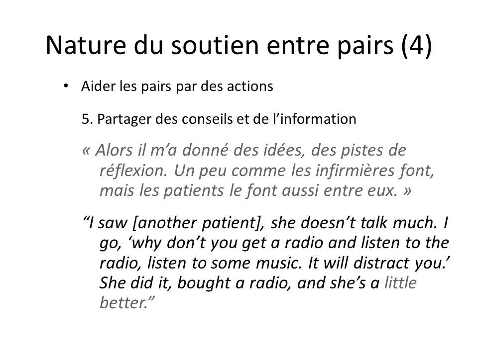 Nature du soutien entre pairs (4)