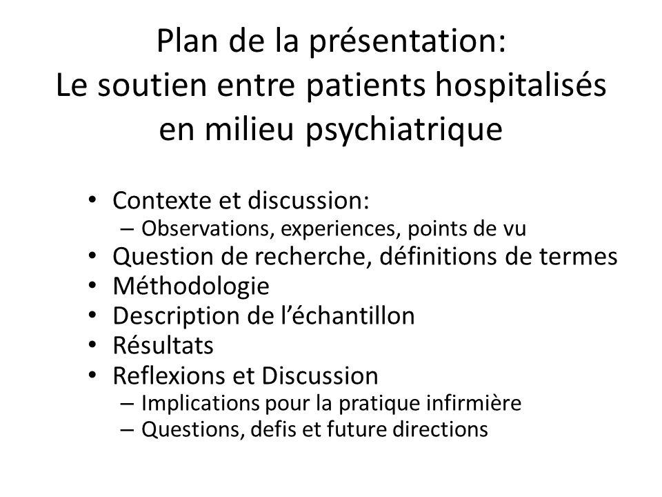 Plan de la présentation: Le soutien entre patients hospitalisés en milieu psychiatrique