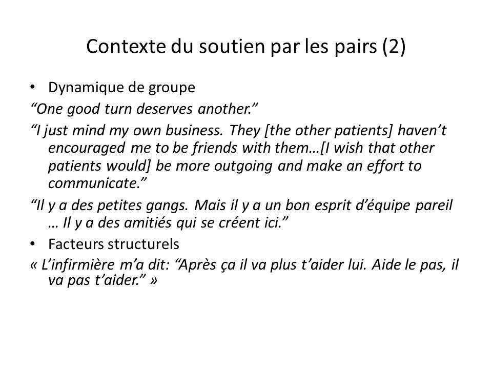 Contexte du soutien par les pairs (2)