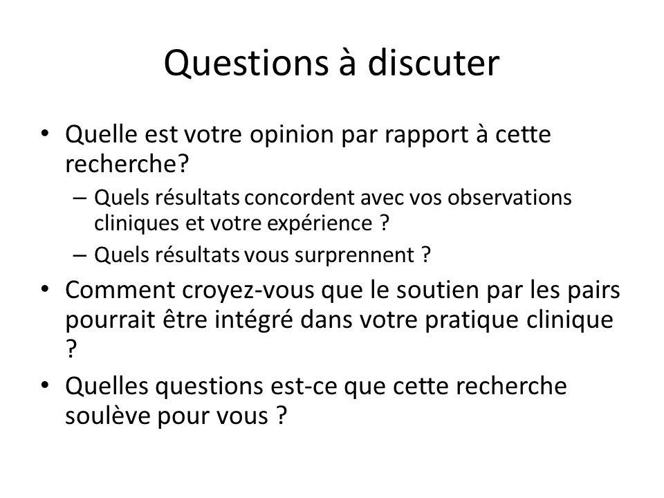 Questions à discuter Quelle est votre opinion par rapport à cette recherche