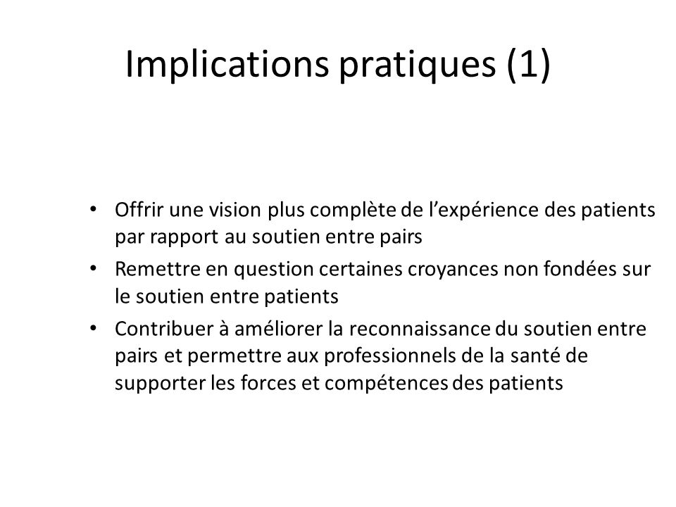 Implications pratiques (1)