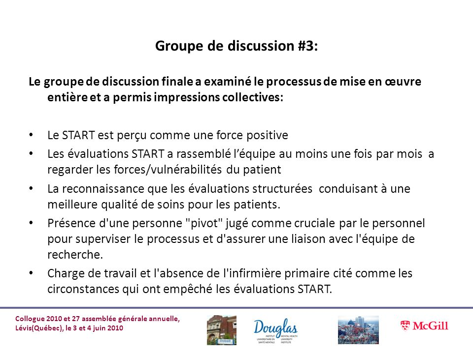 Groupe de discussion #3: