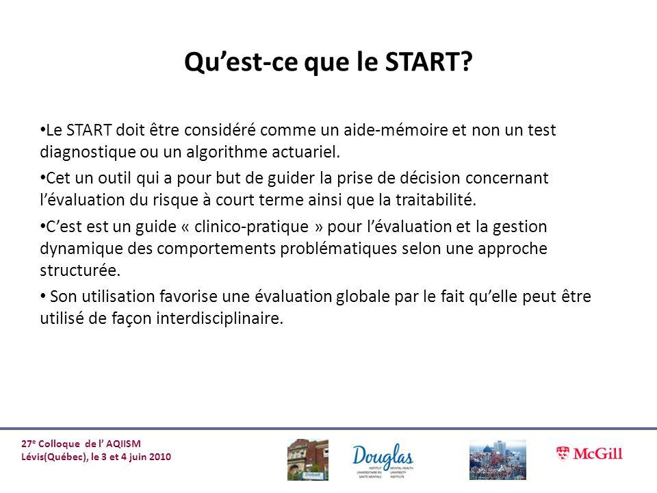 Qu'est-ce que le START Le START doit être considéré comme un aide-mémoire et non un test diagnostique ou un algorithme actuariel.