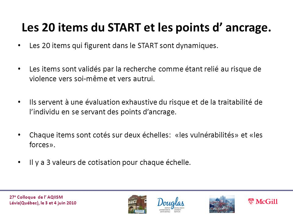 Les 20 items du START et les points d' ancrage.