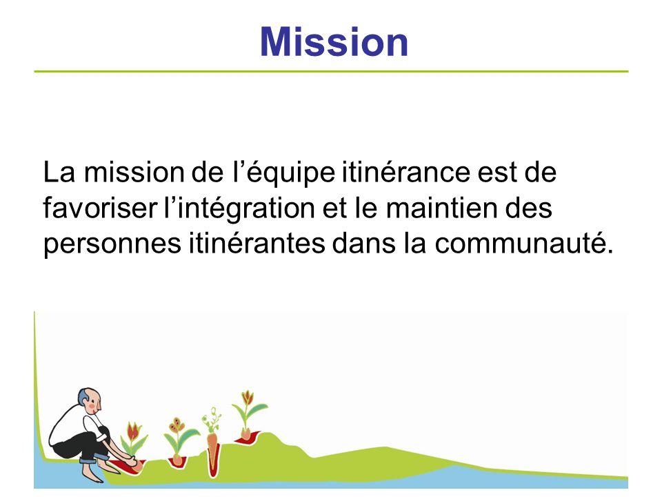 Mission La mission de l'équipe itinérance est de favoriser l'intégration et le maintien des personnes itinérantes dans la communauté.