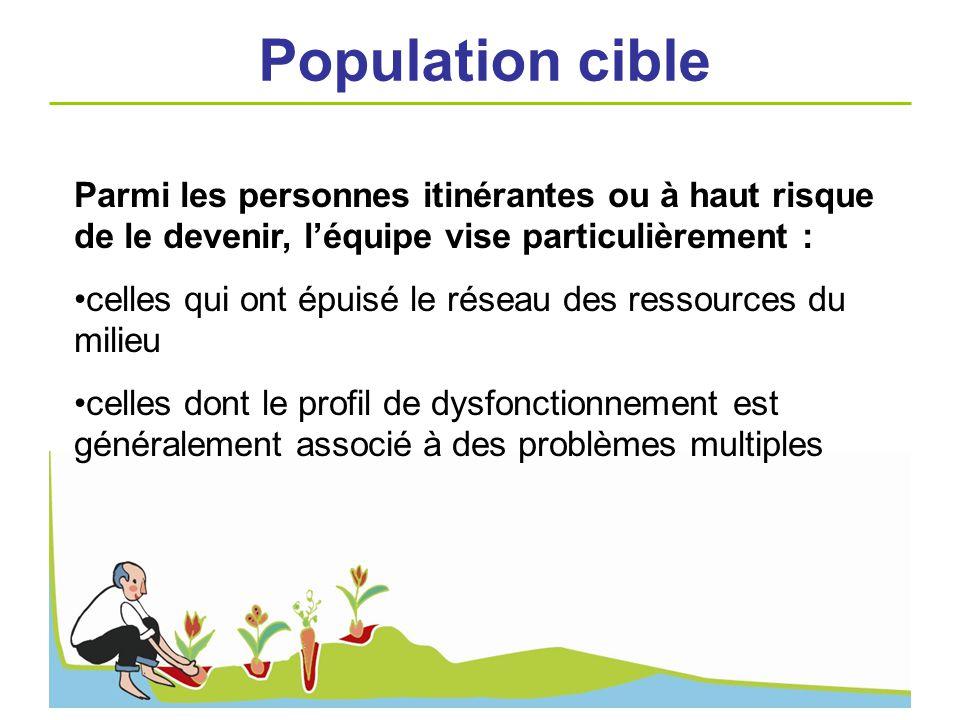 Population cible Parmi les personnes itinérantes ou à haut risque de le devenir, l'équipe vise particulièrement :