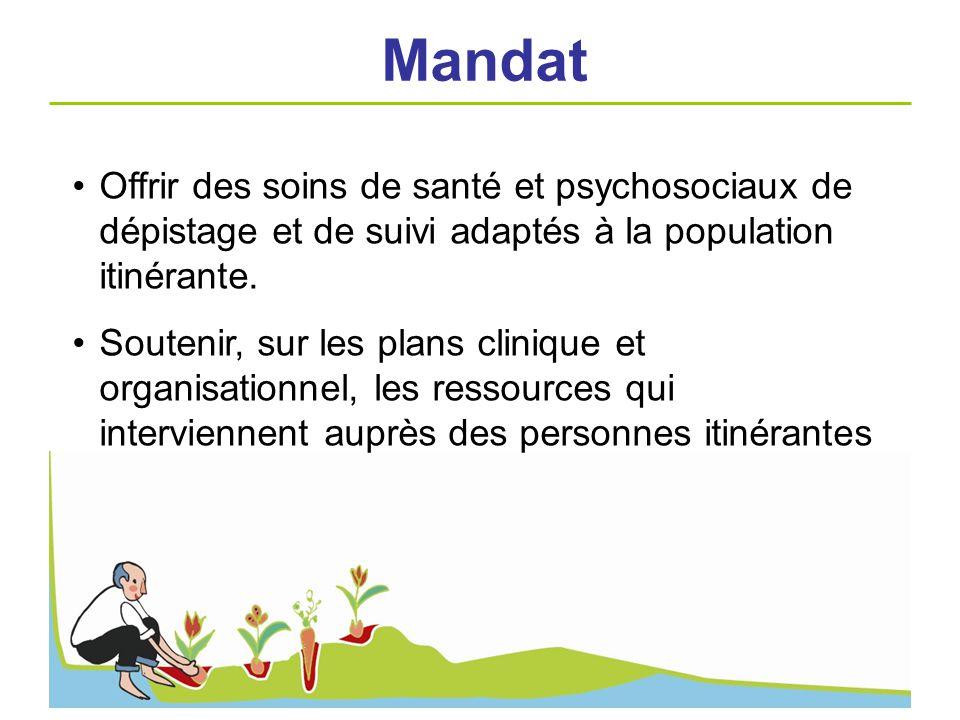 Mandat Offrir des soins de santé et psychosociaux de dépistage et de suivi adaptés à la population itinérante.
