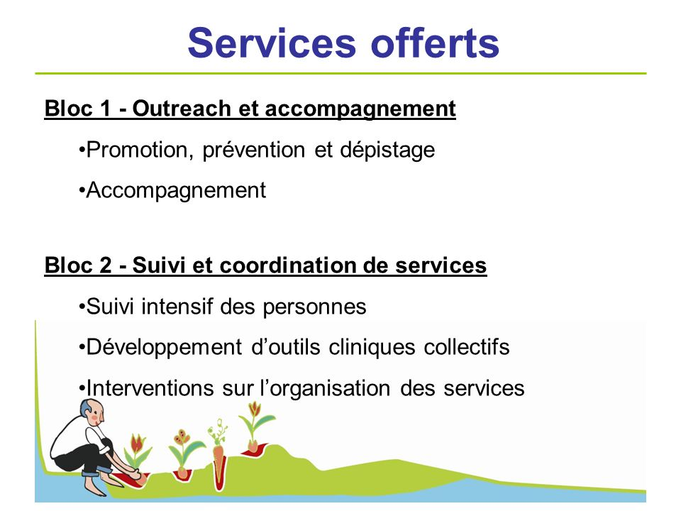 Services offerts Bloc 1 - Outreach et accompagnement