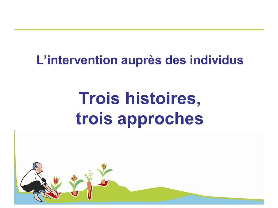 L'intervention auprès des individus Trois histoires, trois approches