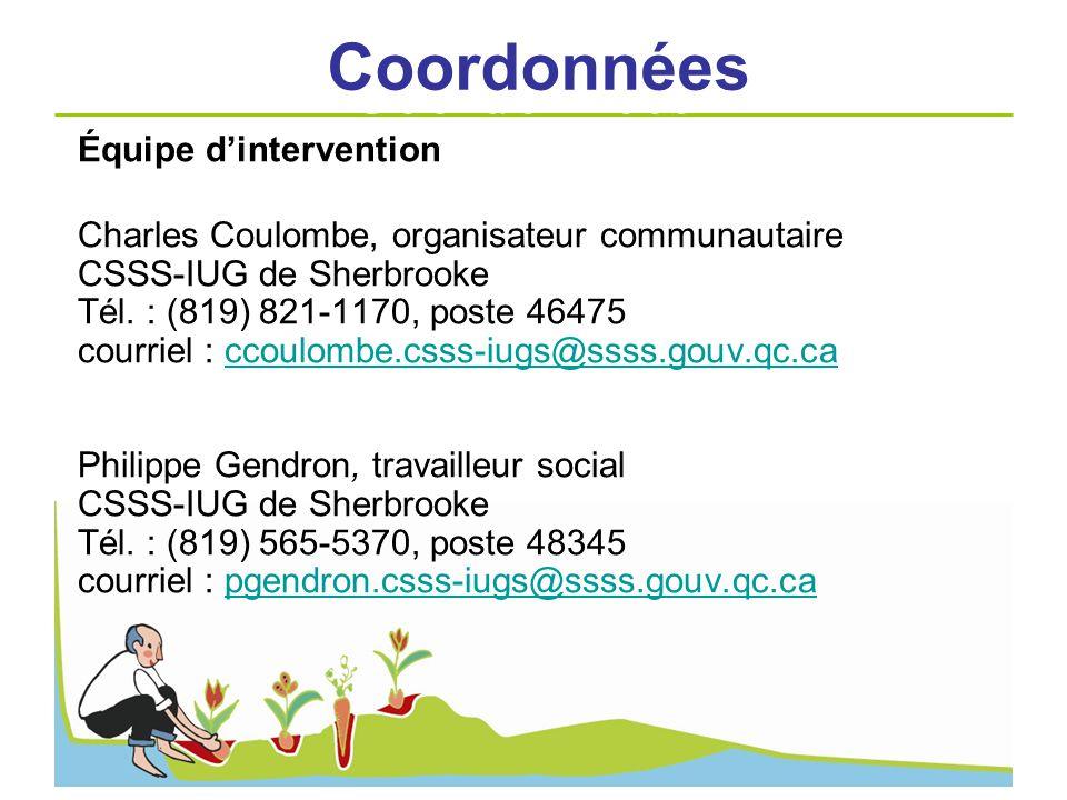 Coordonnées Coordonnées Équipe d'intervention