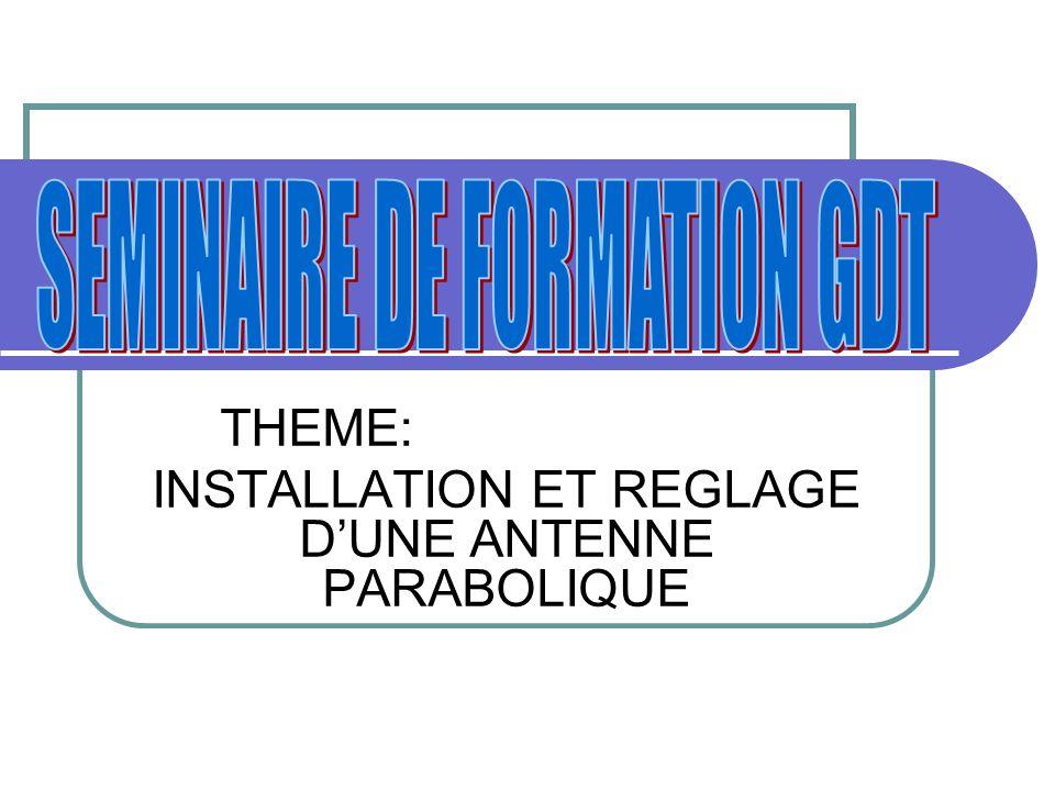 THEME: INSTALLATION ET REGLAGE D'UNE ANTENNE PARABOLIQUE