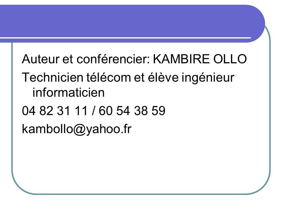 Auteur et conférencier: KAMBIRE OLLO