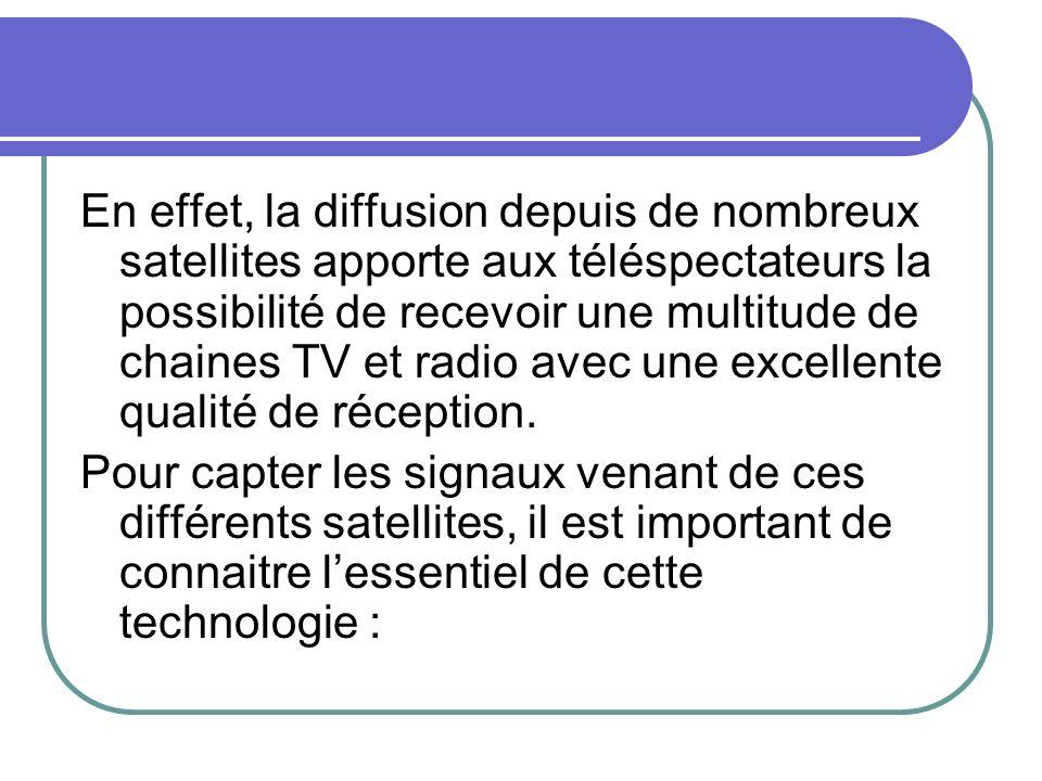 En effet, la diffusion depuis de nombreux satellites apporte aux téléspectateurs la possibilité de recevoir une multitude de chaines TV et radio avec une excellente qualité de réception.