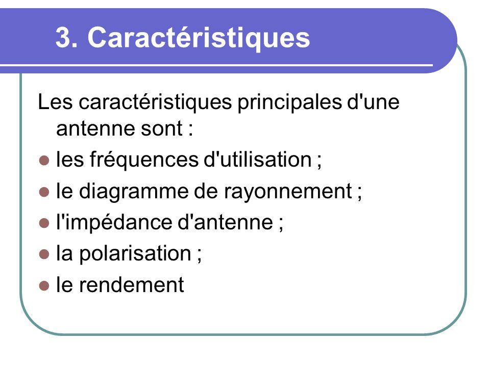 3. Caractéristiques Les caractéristiques principales d une antenne sont : les fréquences d utilisation ;