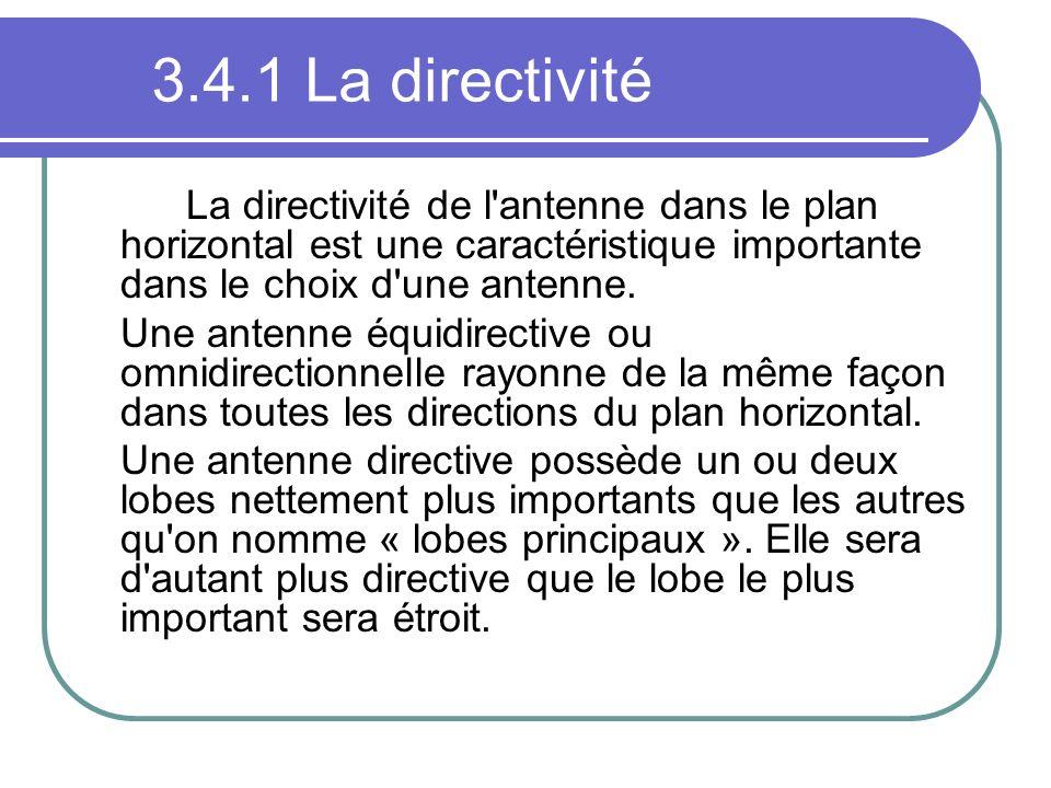 3.4.1 La directivité La directivité de l antenne dans le plan horizontal est une caractéristique importante dans le choix d une antenne.