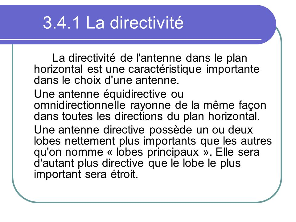 3.4.1 La directivitéLa directivité de l antenne dans le plan horizontal est une caractéristique importante dans le choix d une antenne.