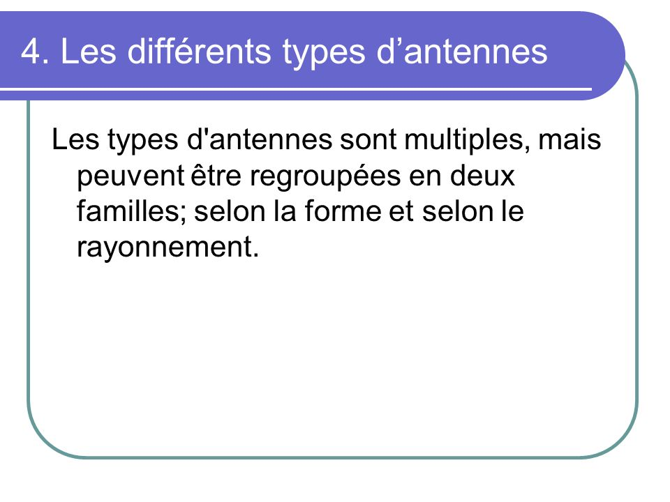 4. Les différents types d'antennes