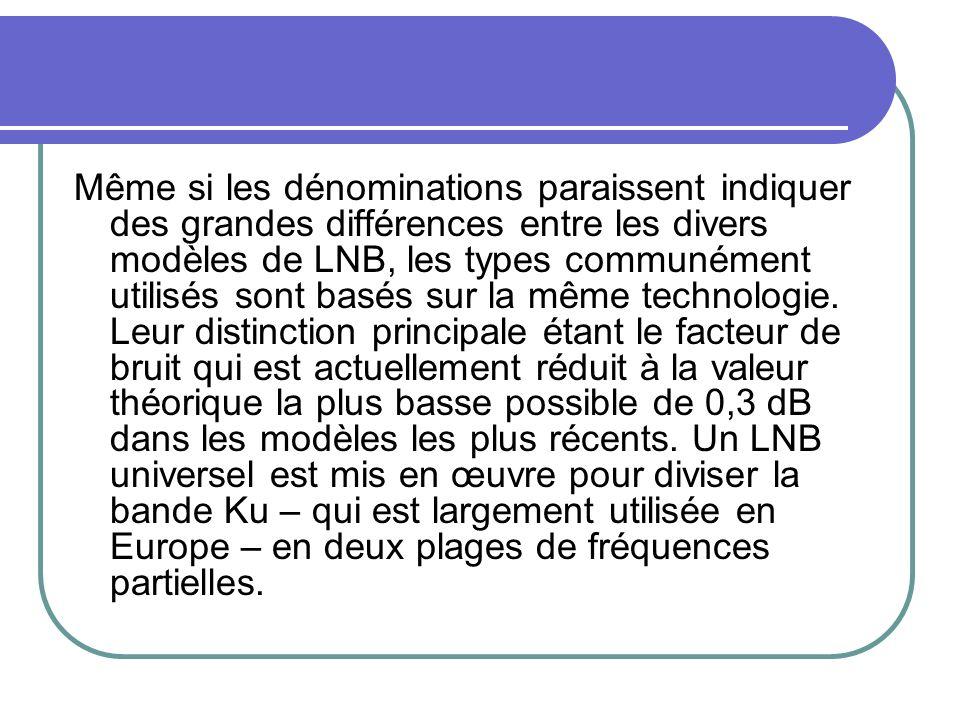 Même si les dénominations paraissent indiquer des grandes différences entre les divers modèles de LNB, les types communément utilisés sont basés sur la même technologie.