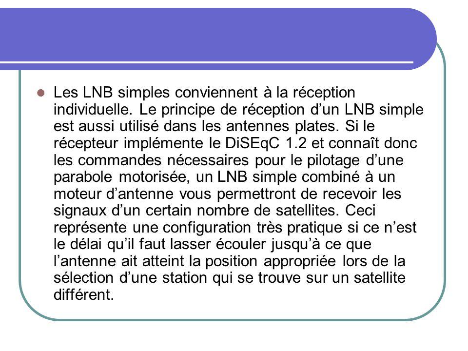 Les LNB simples conviennent à la réception individuelle