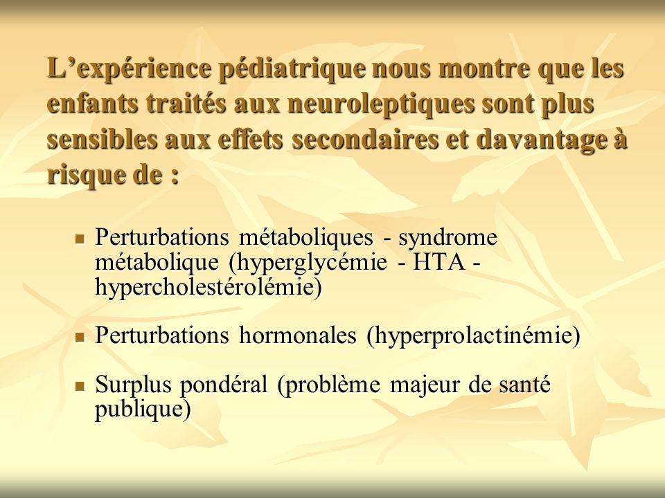 L'expérience pédiatrique nous montre que les enfants traités aux neuroleptiques sont plus sensibles aux effets secondaires et davantage à risque de :