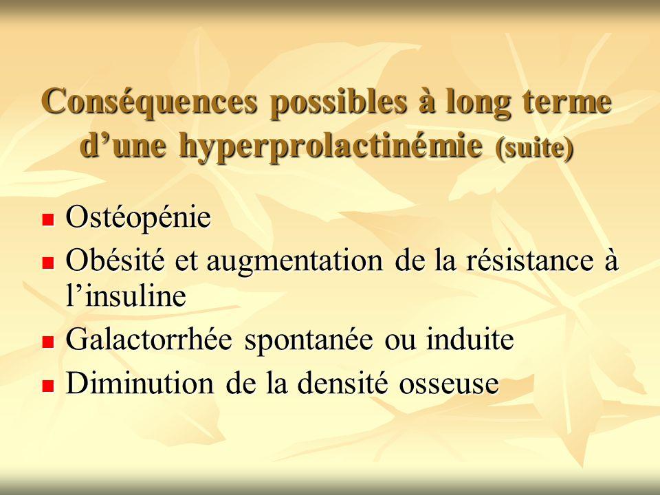 Conséquences possibles à long terme d'une hyperprolactinémie (suite)