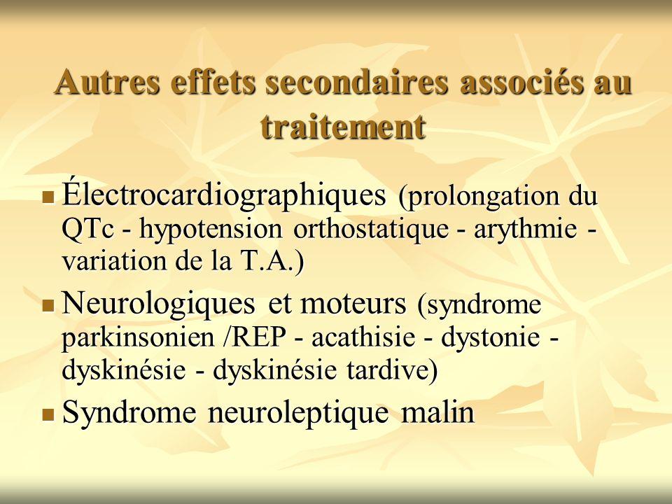 Autres effets secondaires associés au traitement