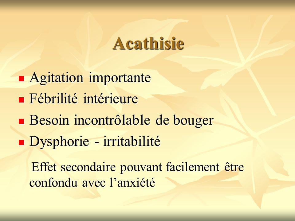 Acathisie Agitation importante Fébrilité intérieure