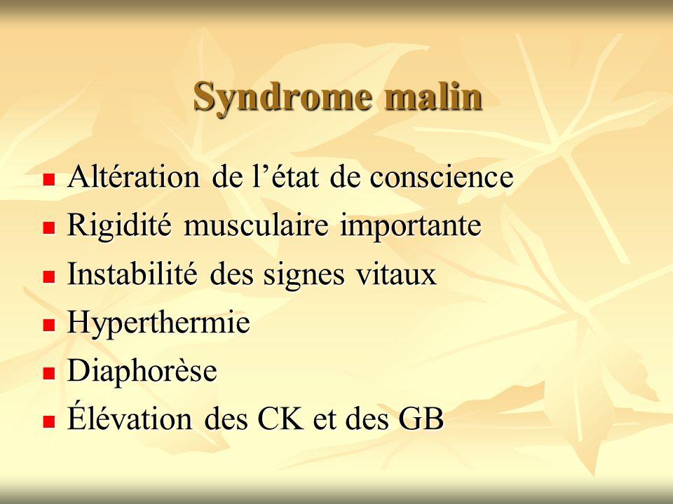 Syndrome malin Altération de l'état de conscience