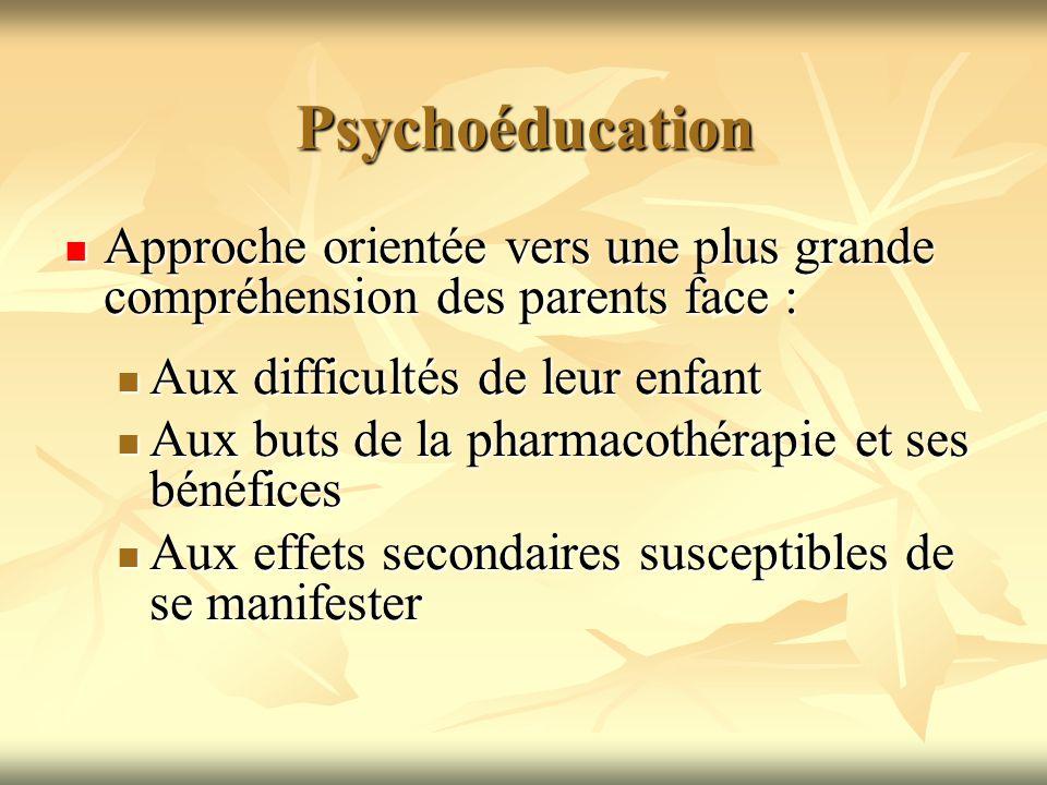 Psychoéducation Approche orientée vers une plus grande compréhension des parents face : Aux difficultés de leur enfant.