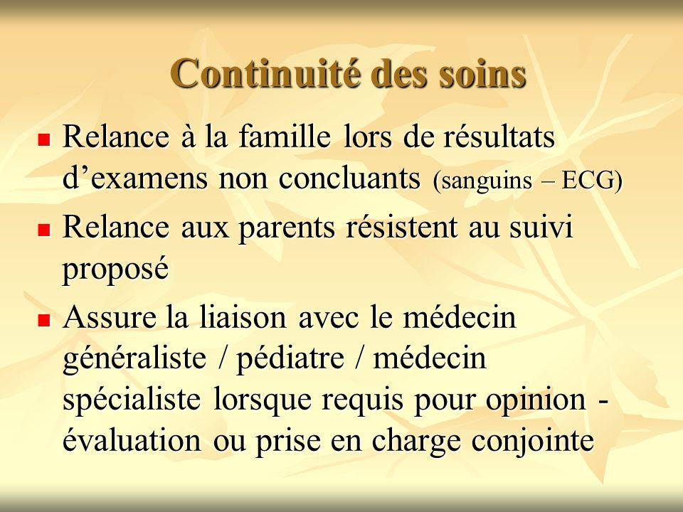 Continuité des soins Relance à la famille lors de résultats d'examens non concluants (sanguins – ECG)