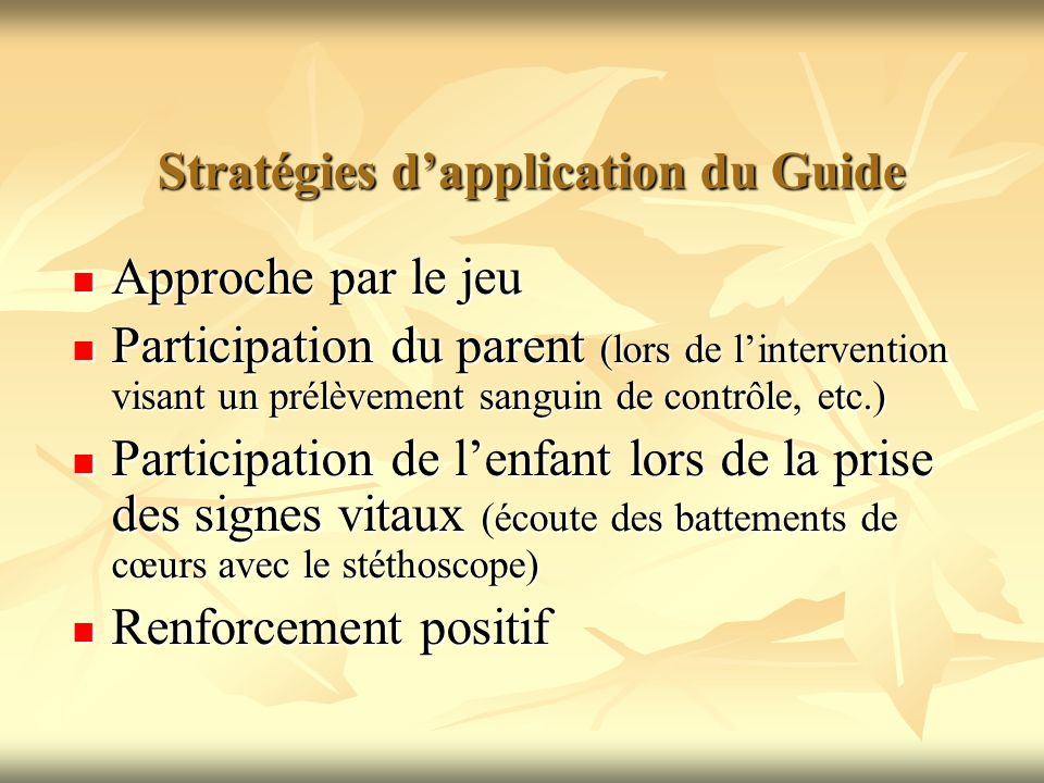 Stratégies d'application du Guide