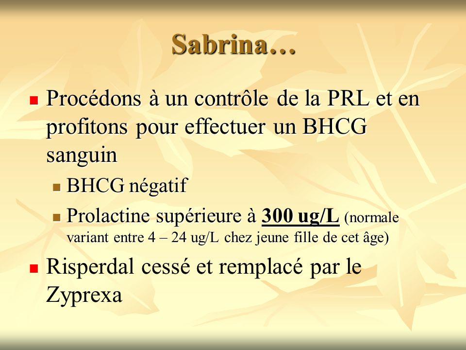Sabrina… Procédons à un contrôle de la PRL et en profitons pour effectuer un BHCG sanguin. BHCG négatif.