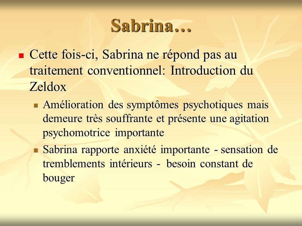 Sabrina… Cette fois-ci, Sabrina ne répond pas au traitement conventionnel: Introduction du Zeldox.