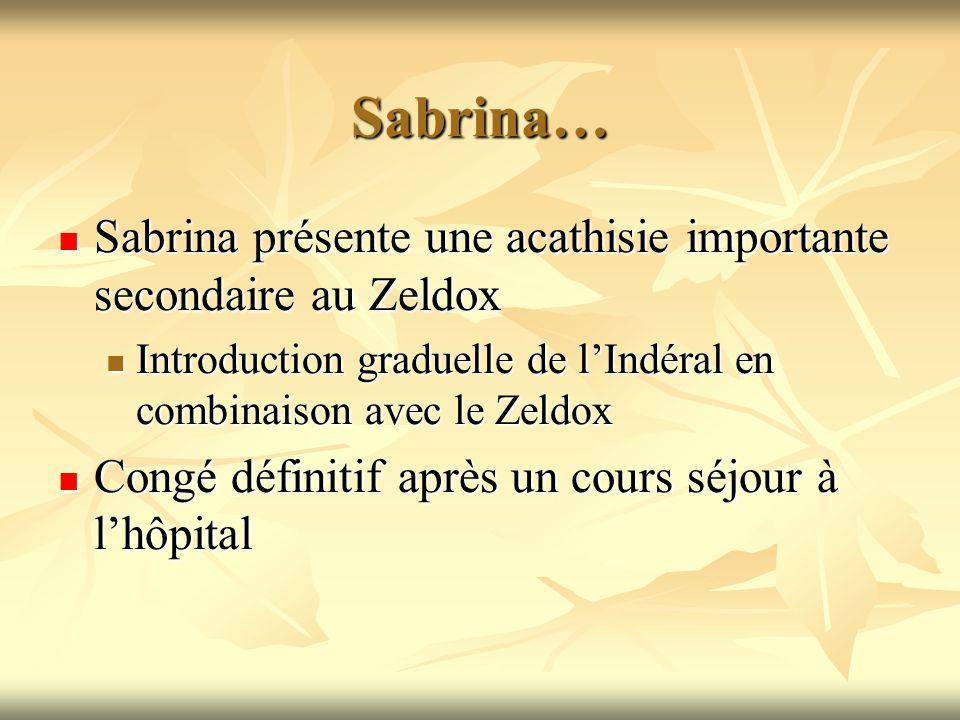 Sabrina… Sabrina présente une acathisie importante secondaire au Zeldox. Introduction graduelle de l'Indéral en combinaison avec le Zeldox.