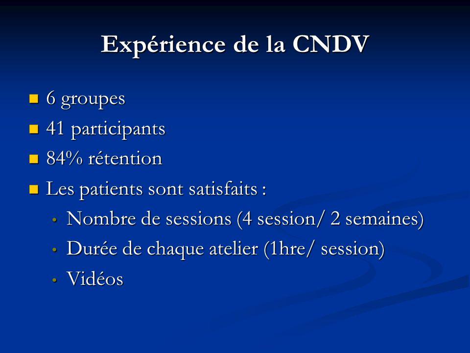 Expérience de la CNDV 6 groupes 41 participants 84% rétention