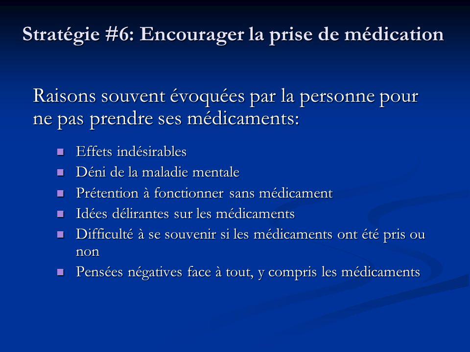 Stratégie #6: Encourager la prise de médication
