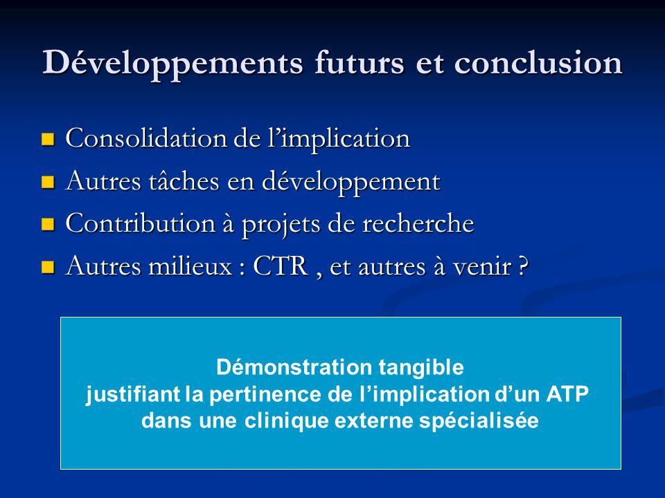Développements futurs et conclusion