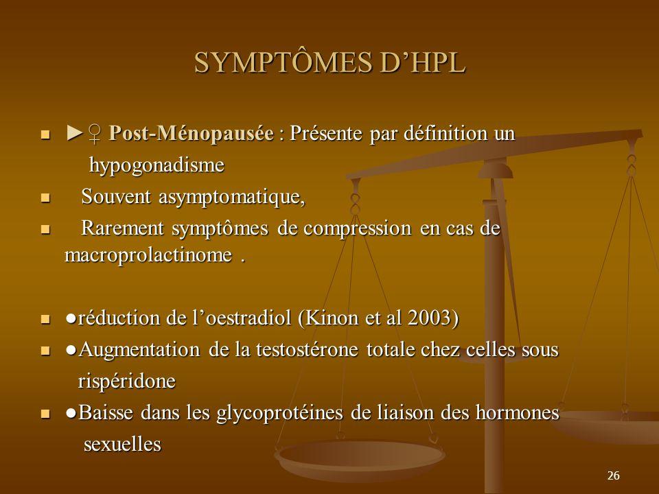 SYMPTÔMES D'HPL ►♀ Post-Ménopausée : Présente par définition un