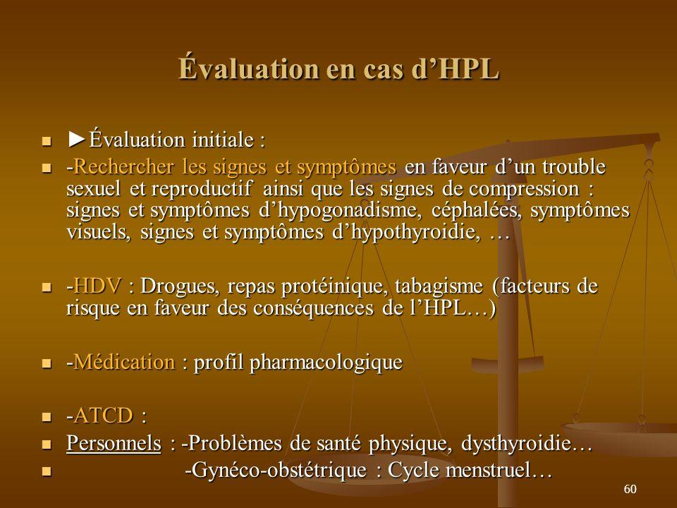 Évaluation en cas d'HPL