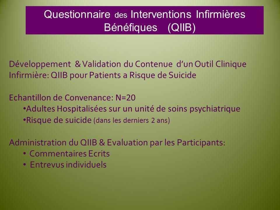 Questionnaire des Interventions Infirmières Bénéfiques (QIIB)