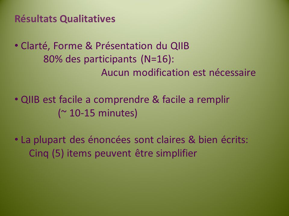 Résultats Qualitatives