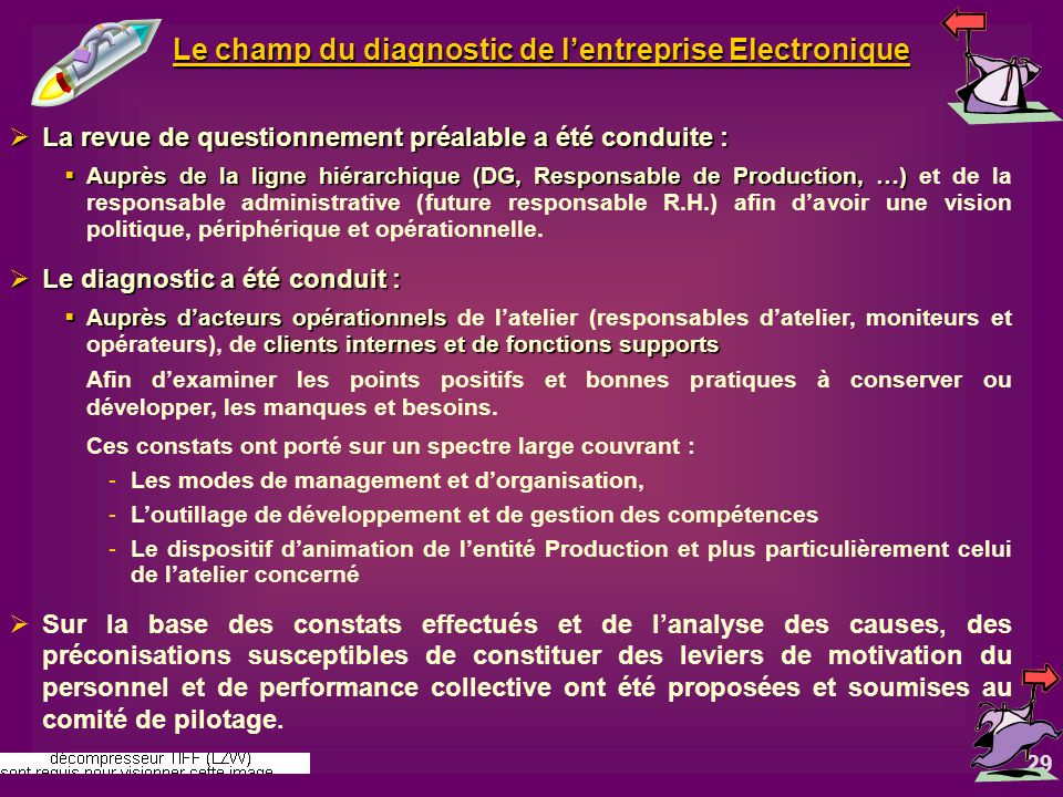 Le champ du diagnostic de l'entreprise Electronique