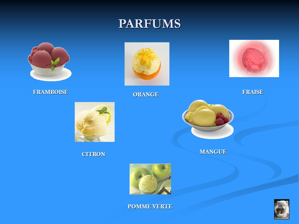 PARFUMS FRAMBOISE FRAISE ORANGE MANGUE CITRON POMME VERTE