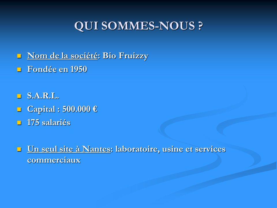 QUI SOMMES-NOUS Nom de la société: Bio Fruizzy Fondée en 1950