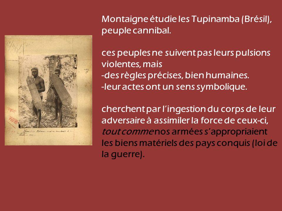 Montaigne étudie les Tupinamba (Brésil), peuple cannibal.