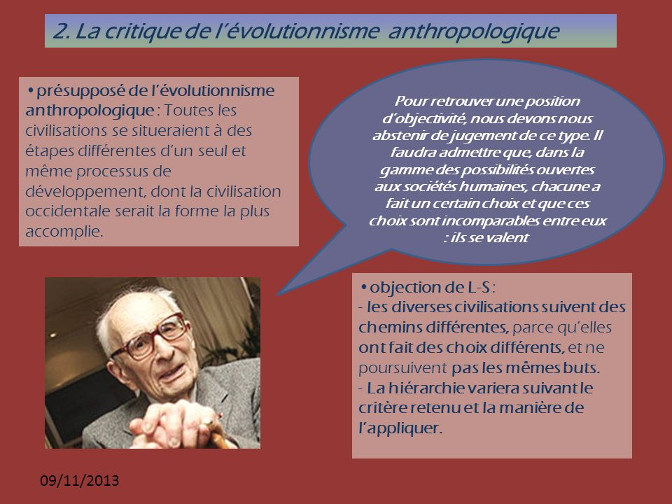 2. La critique de l'évolutionnisme anthropologique
