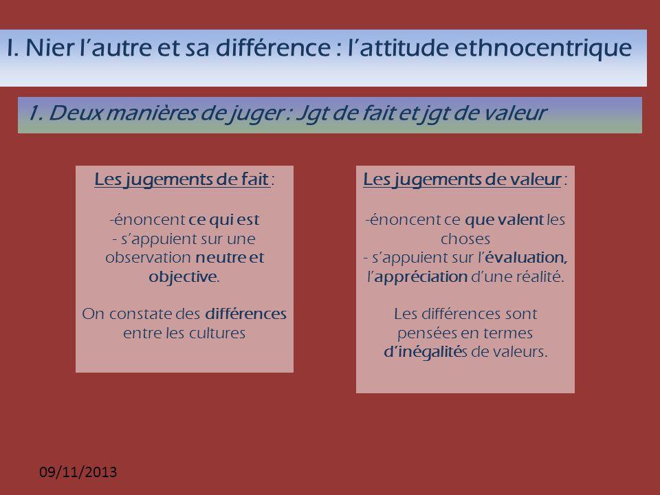 I. Nier l'autre et sa différence : l'attitude ethnocentrique