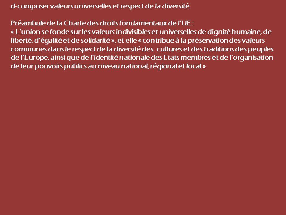 Préambule. d-composer valeurs universelles et respect de la diversité.