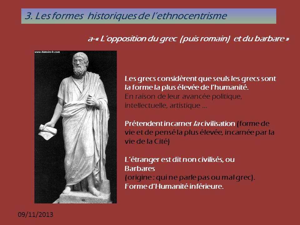 3. Les formes historiques de l'ethnocentrisme