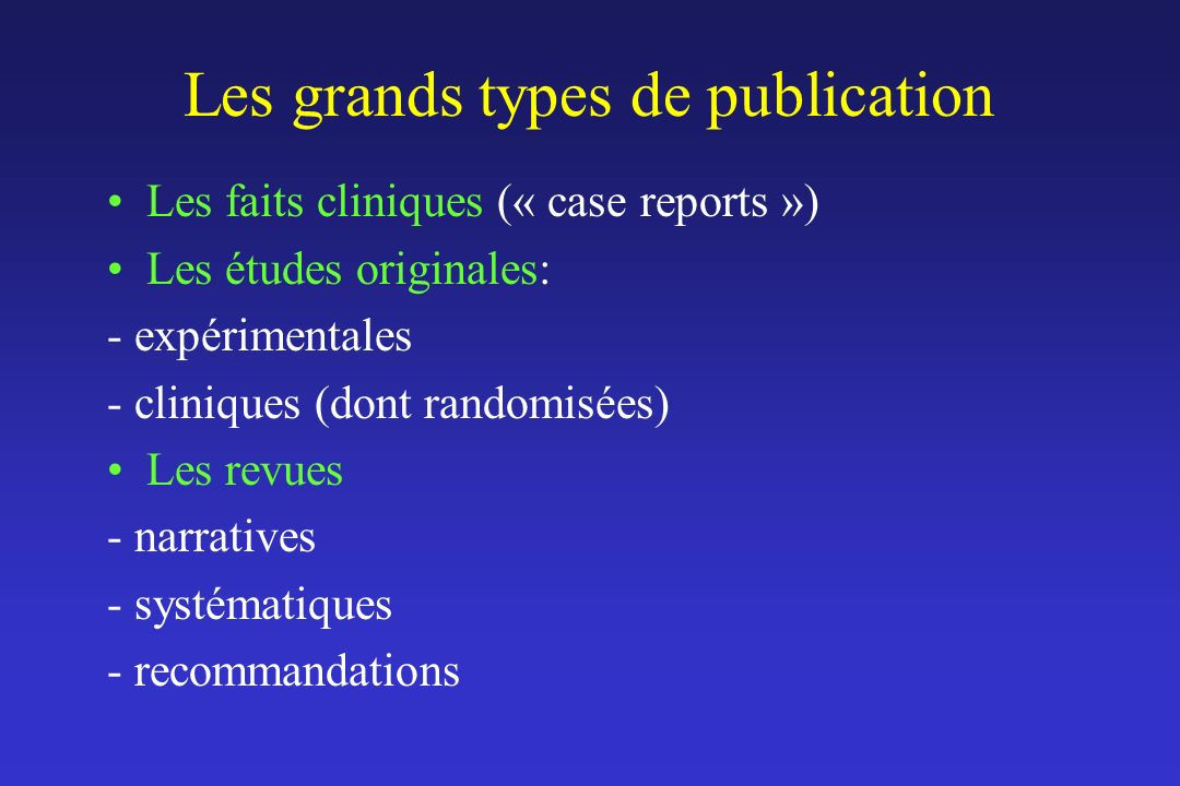 Les grands types de publication